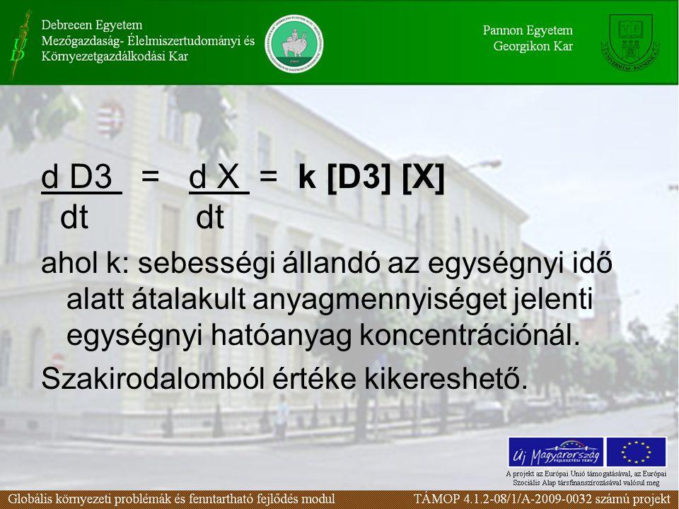 d D3 = d X = k [D3] [X] dt dt.